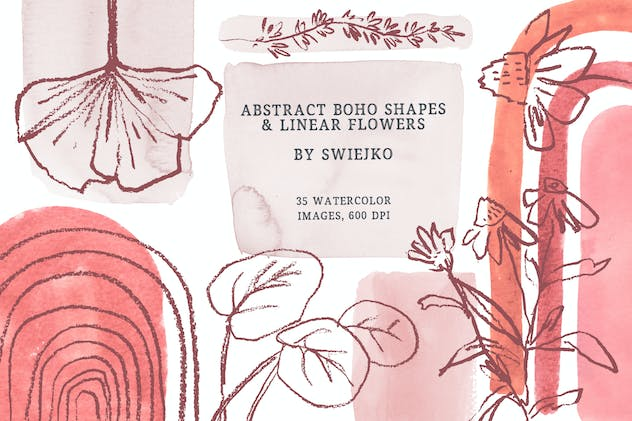 Abstract, Boho clipart set
