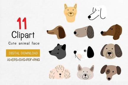 Clip Art,Many Breeds of Cute Dog Faces