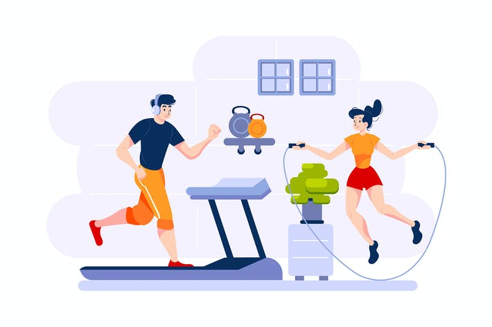 Thumbnail for A man runs on treadmill and a woman jumps rope.