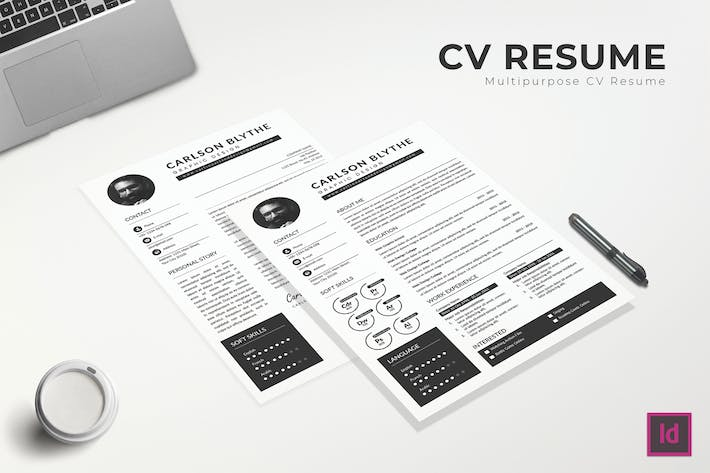 Thumbnail for Monochrom CV Resume Template