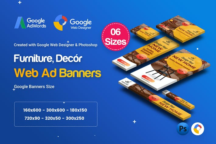 Thumbnail for C02 - Furniture, Decor Banners Ad GWD & PSD