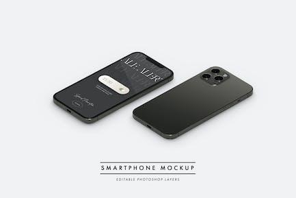 Smartphone flat lay isometric view mockup