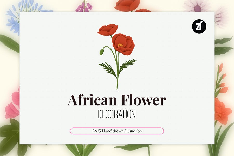 10 African flowers hand-drawn decoration