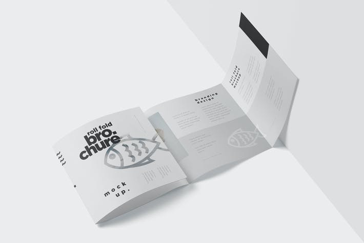 Roll-Fold Brochure Mockup Set - Square Format