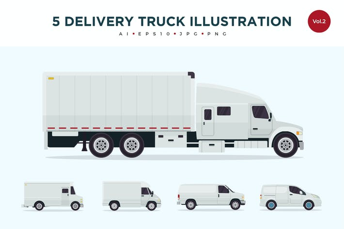 Cover Image For 5 Delivery Truck Vector Illustration Set 2