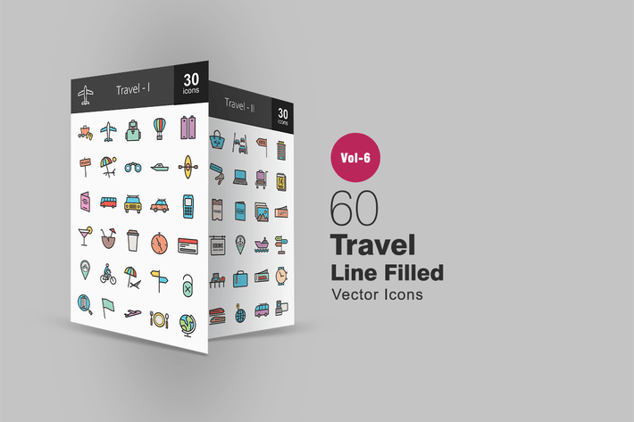 Thumbnail for 60 Travel Filled Line Icons