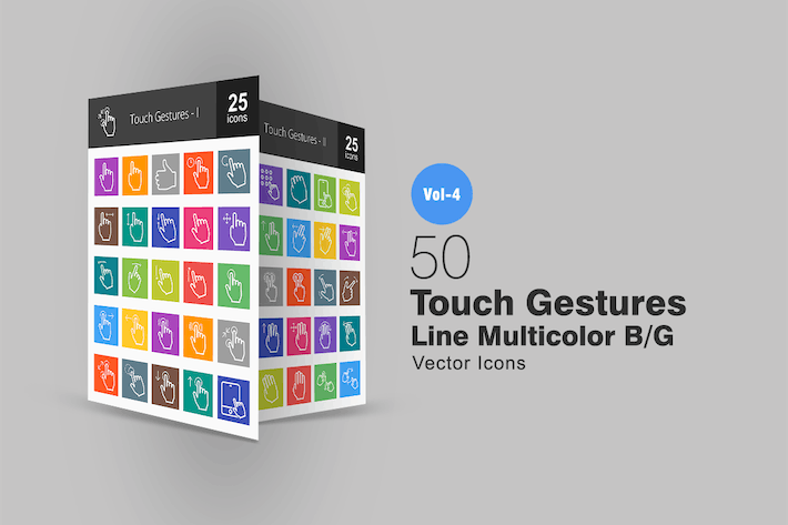 Thumbnail for 50 Touch Gestures Line Multicolor Icons