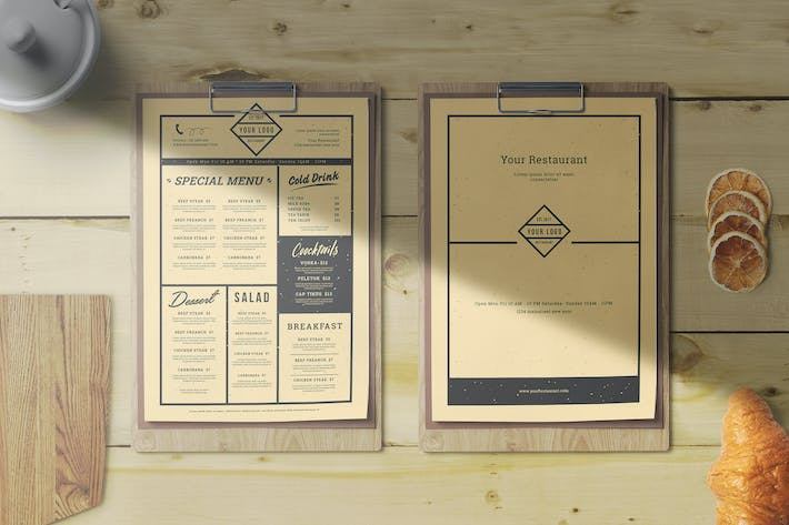 Cover Image For Vintage Restaurant Menu