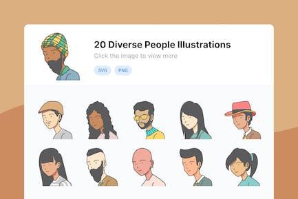 Diverse People Avatar Illustration