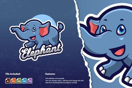 Flying Elephant Mascot Game Logo Template