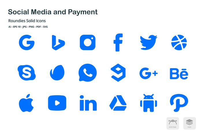 Cover Image For Social Media & Payment Roundies Solid Glyph Icons