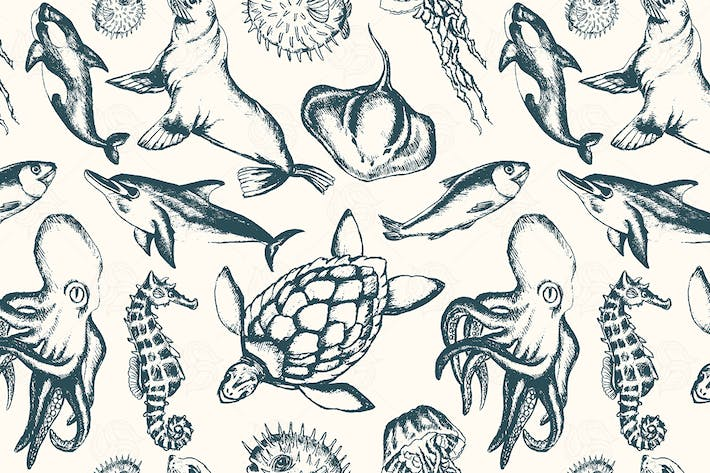 Thumbnail for Sea Creatures - hand drawn seamless pattern