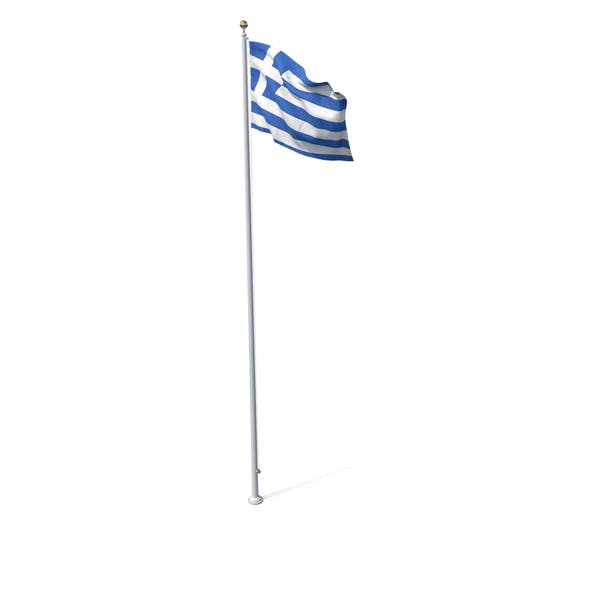 Flag On Pole Greece