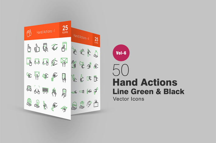 Thumbnail for 50 Hand Actions Green & Black Line Icons