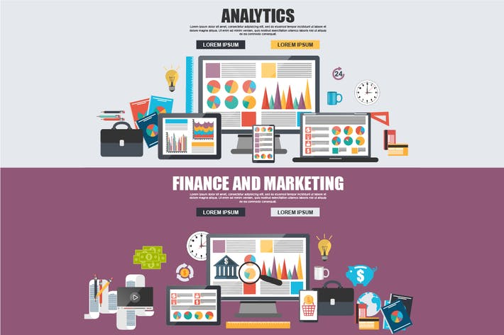 Thumbnail for Flat Business Analytics And Marketing Concept