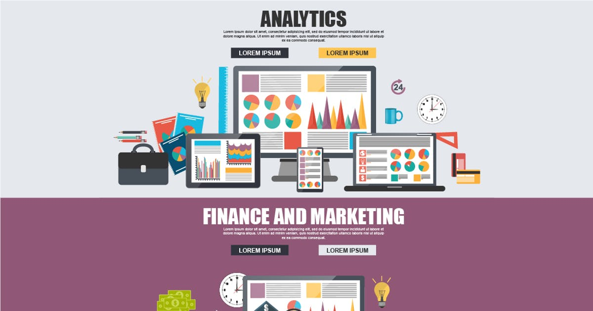 Flat Business Analytics And Marketing Concept by alexdndz
