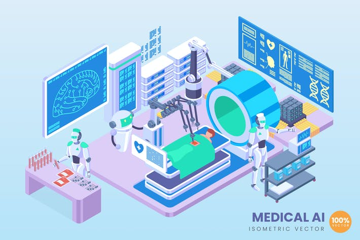 Thumbnail for Isometric Medical Artificial Intelligence Vector