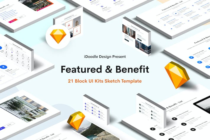 Thumbnail for Featured & Benefit Sketch Block UI Kits Website