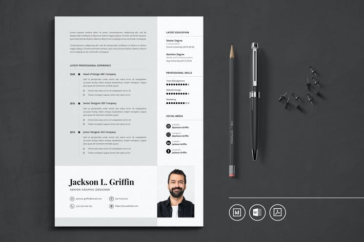 Thumbnail for Professional CV Resume Indesign Template Vol.41