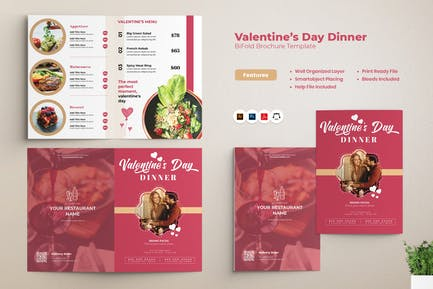 Valentines Day Dinner Bifold Brochure