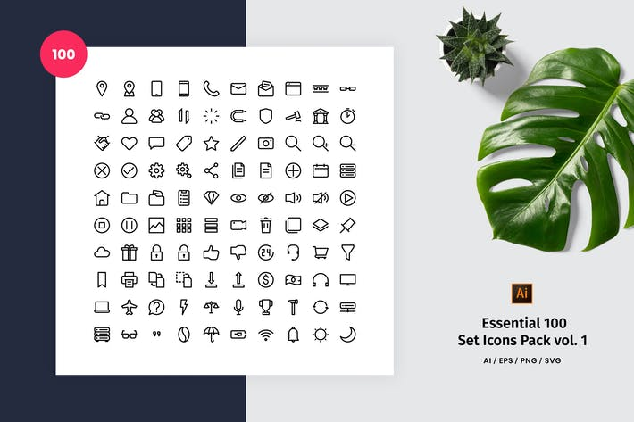 Essential 100 Set Icon Pack Vol. 1