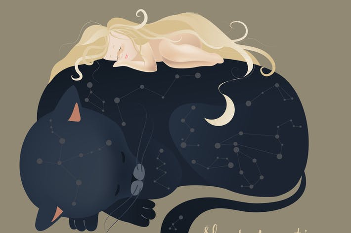 Thumbnail for Little girl sleeping with black cat. Vector