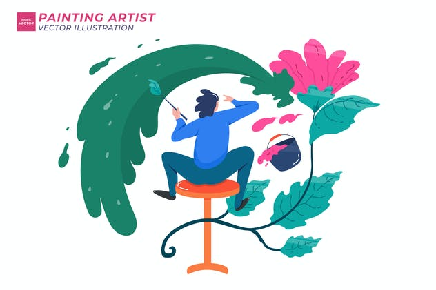 Painting Artist Flat Illustration