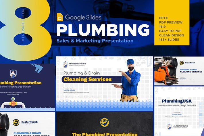 Thumbnail for Plumbing Services Industry Google Slides Template