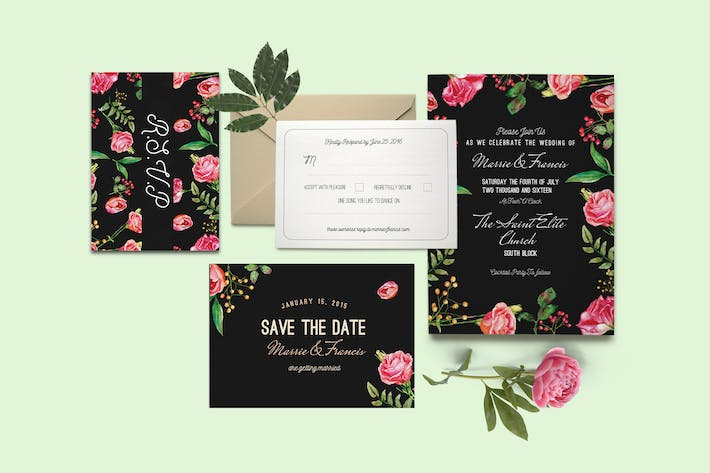 Thumbnail for DIY Floral Wedding Invitation PSD Template