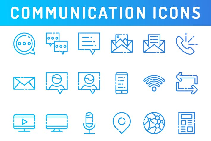 Thumbnail for Communication and Media Icons