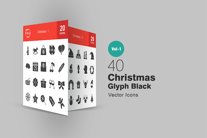 Thumbnail for 40 Christmas Glyph Icons
