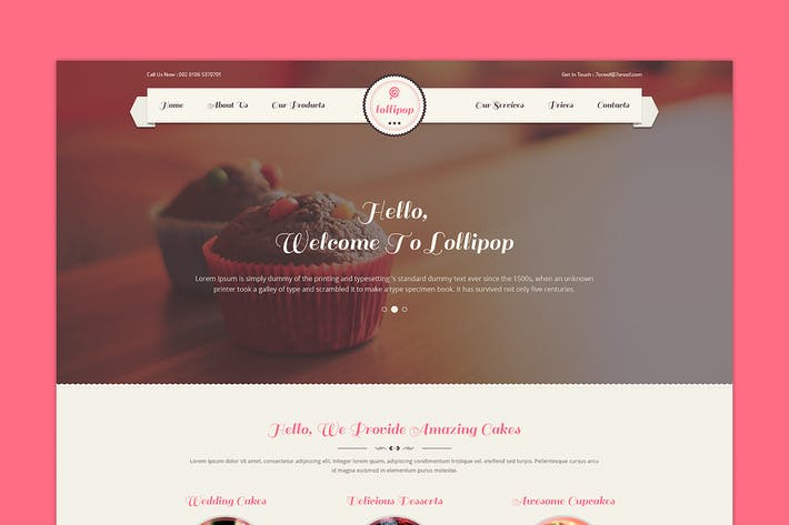 Thumbnail for Lollipop - Awesome Sweets & Cakes PSD Template
