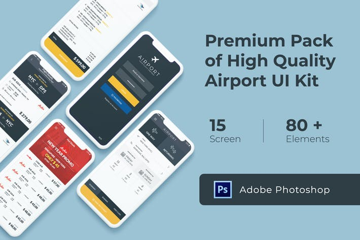 Thumbnail for Flight and Ticket Booking UI KIT for Photoshop
