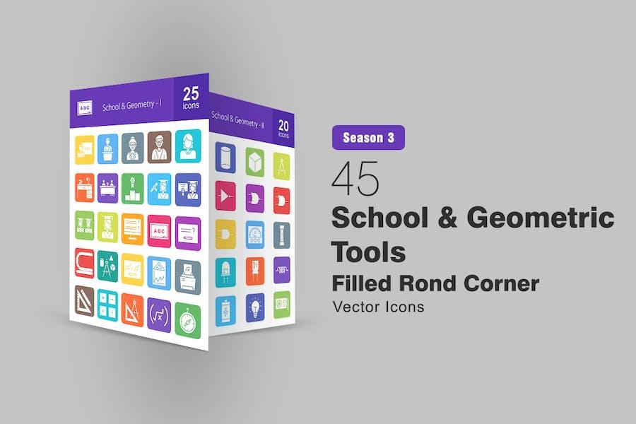 45 Schule und geometrische Werkzeuge Round Corner Icons