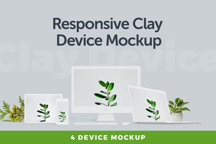 Thumbnail for Dispositivo de arcilla Responsivo Mockup 3.0