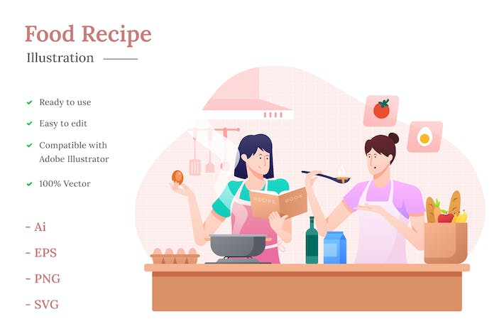 Cover Image For Food Recipe Illustration