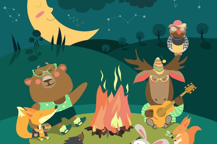 Cute animals resting around bonfire. Vector