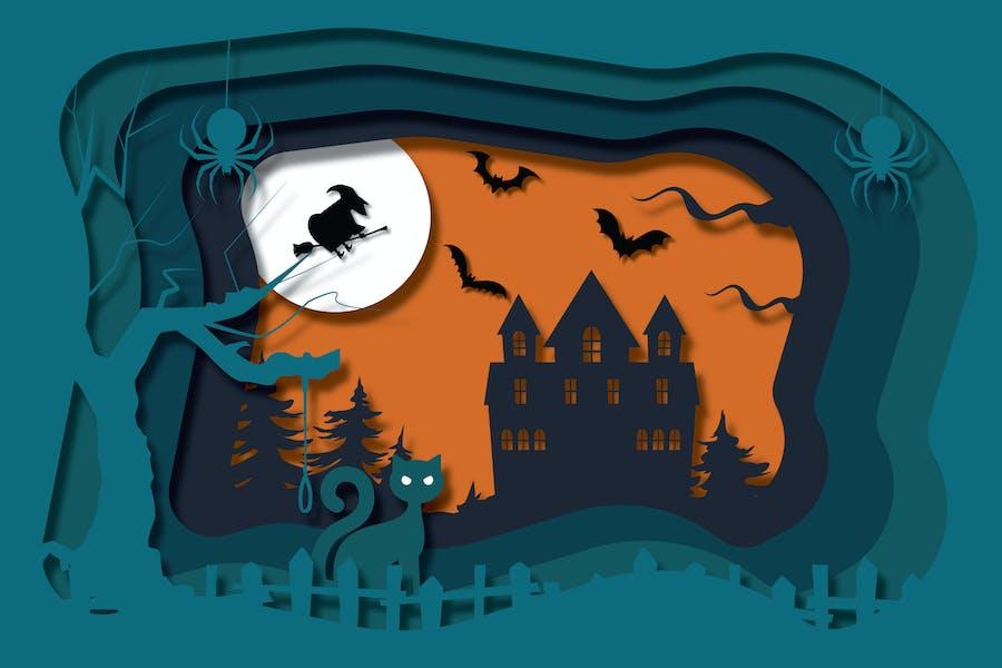 Halloween Night - Vector Paper Cut illustration