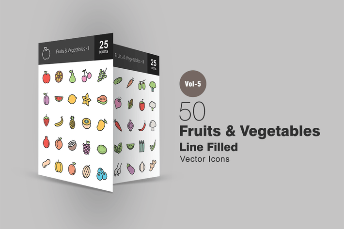 Thumbnail for 50 Fruits & Vegetables Line Filled Icons