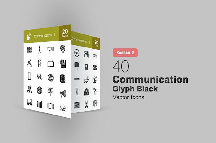 Thumbnail for 40 Communication Glyph Icons Season II