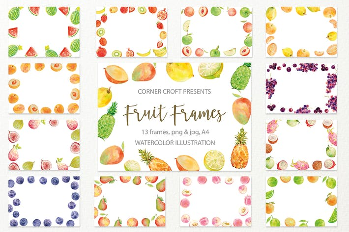 Thumbnail for Watercolor fruit frame