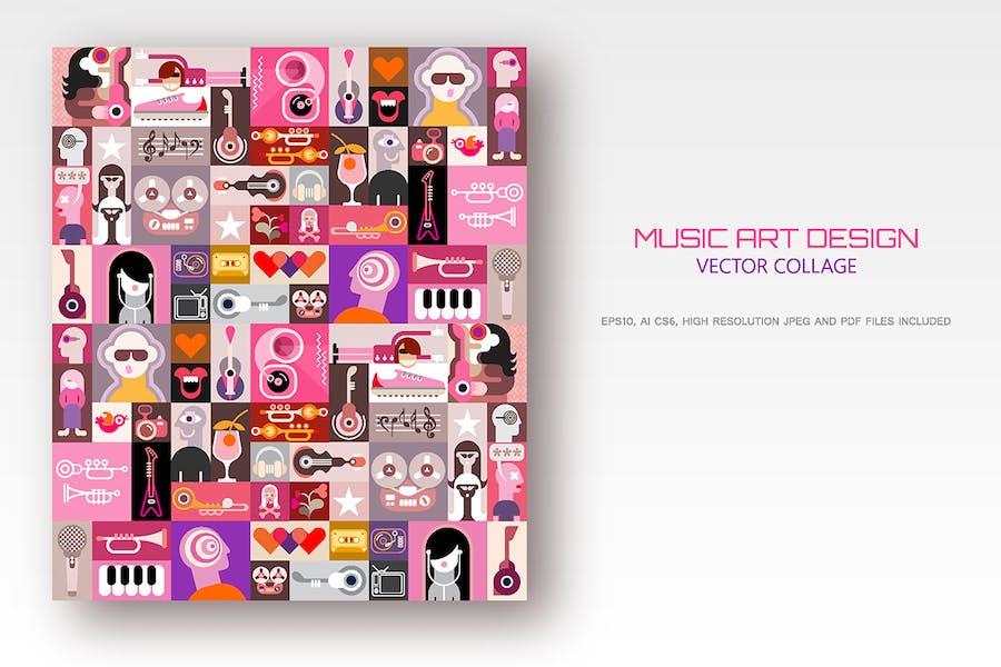Музыкальный художественный дизайн вектор иллюстрация
