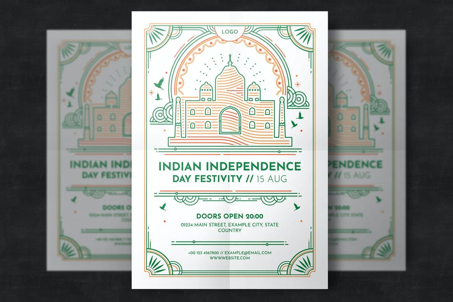 Indian independence day flyer template