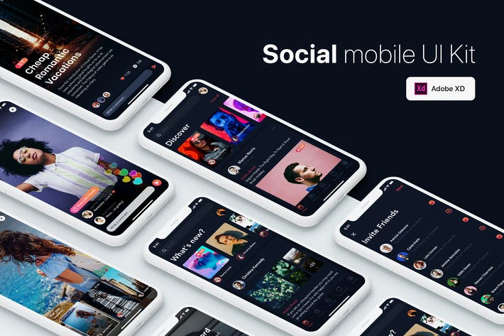 Thumbnail for Social Mobile UI Kit for ADOBE XD
