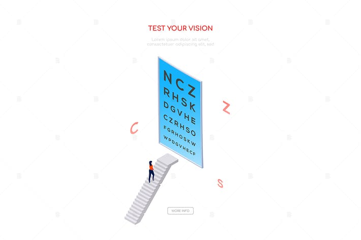 Thumbnail for Test your vision - isometric web banner
