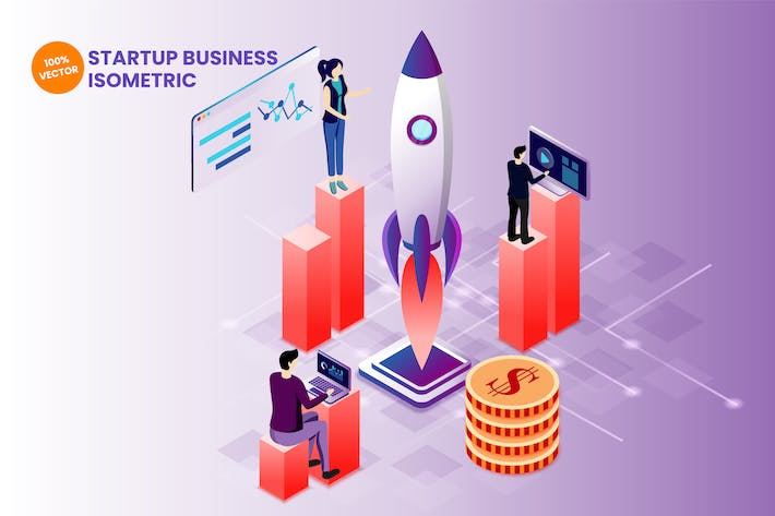 Thumbnail for Isometric Startup Business Vector Illustration