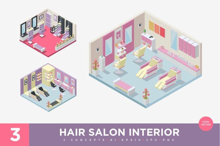 Thumbnail for 3 Isometric Hair Salon Interior Vector Set 1