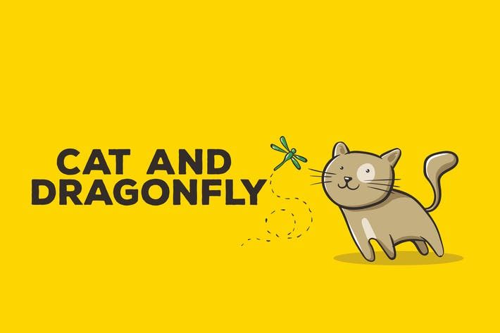Thumbnail for Cat and Dragonfly Illustration Artwork