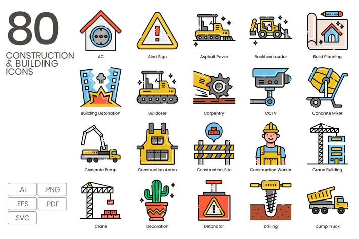Thumbnail for 80 Construction & Building Line Icons