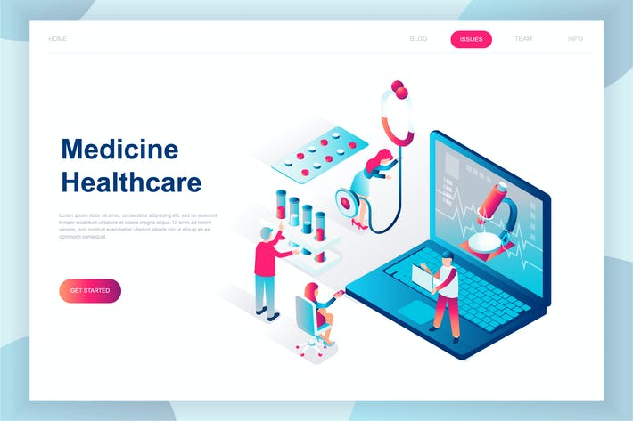 Thumbnail for Online Medicine Isometric Landing Page